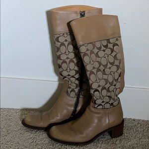 Coach Beige Knee High Heel Boots 7.5